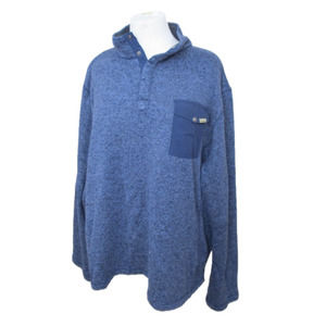 Woolrich Heathered Blue Snap Pullover